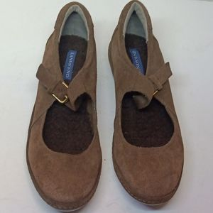 Women's LANDS' END Mary Jane Brown Suede Shoes